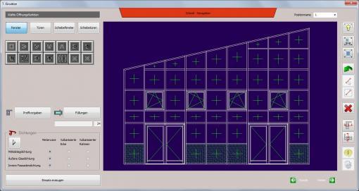 c-mol Fensterbausoftware - Fassaden - Schrägfassade