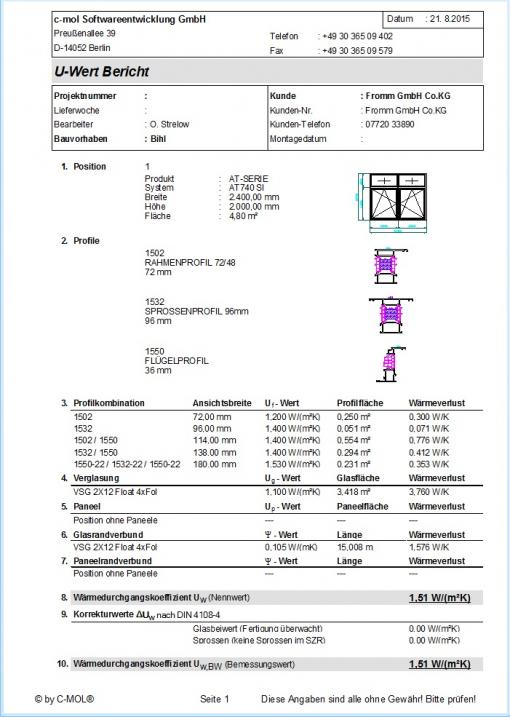 c-mol Fensterbausoftware - Fenster-Türen - U-Wert-Bericht