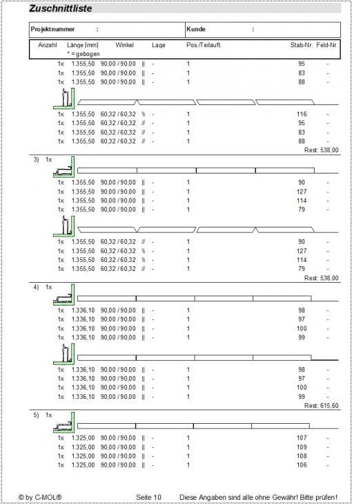 c-mol Railing - Zuschnittliste